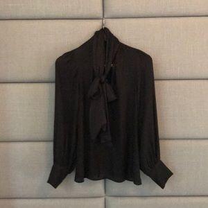 Black pussy bow silk blouse